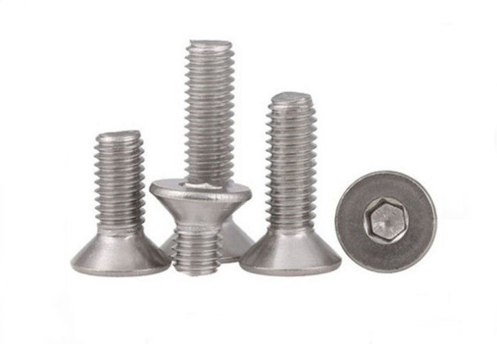 Square Drive Allen Key Steel Machine Screws , M6 Stainless Steel Countersunk Bolts